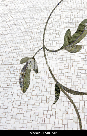 Floral mosaic, inner courtyard, Sheikh Zayed Grand Mosque, the third biggest mosque in the world, Al Maqtaa, Abu - Stock Photo