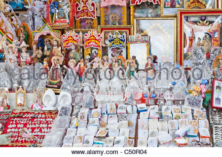 Religious souvenirs and icons for sale in front of Basilica of Our Lady of Copacabana, Copacabana, La Paz Department, - Stock Photo