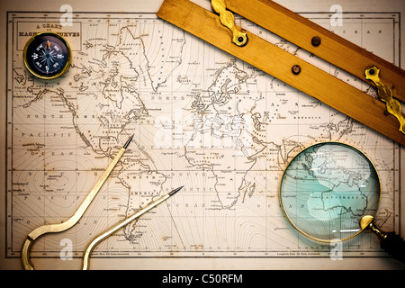 Photo of an old hand drawn 19th century map with navigational objects upon it, with vignetting. - Stock Photo