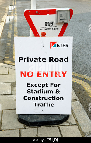 Private road no entry sign at entrance to construction site adjacent to the Emerites Stadium holloway London Eangland - Stock Photo