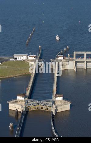 Port Mayaca Lock between Lake Okeechobee and the Saint Lucie Canal - Stock Photo