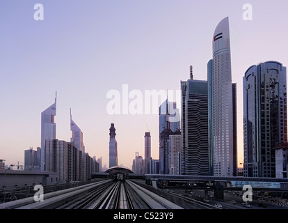 View out of the metro on Sheikh Zayed Road, sunset, downtown Dubai, Dubai, United Arab Emirates, Middle East - Stock Photo