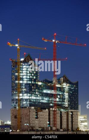 New Hamburg Philharmonic Hall, under construction, Sandtorkai, Hafencity, Hanseatic City of Hamburg, Germany, Europe - Stock Photo