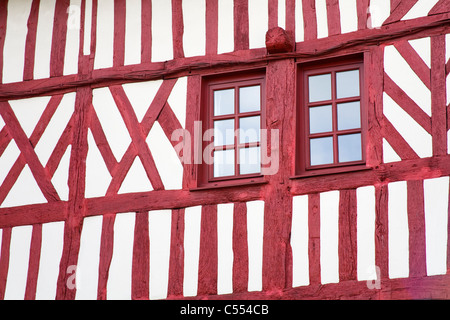 Low angle view of a Tudor style house, Honfleur, Calvados, Basse-Normandy, France - Stock Photo