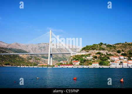 Franjo Tudjman Bridge at the entrance to Dubrovnik in Croatia - Stock Photo