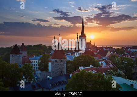 A view to sunrise over Tallinn old town in the morning - Stock Photo