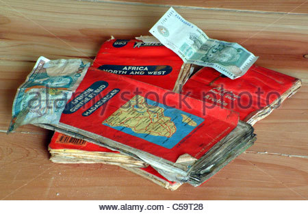Camping equipment used by explorer Kypros in Africa - maps - Stock Photo