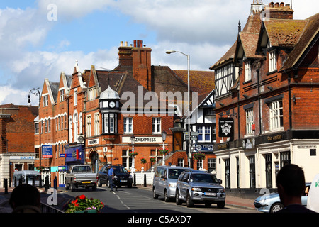 View along High Street, Castle Inn in foreground, Tonbridge, Kent , England - Stock Photo