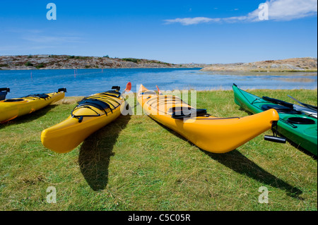 Several kayaks on grass by the calm sea against blue sky - Stock Photo