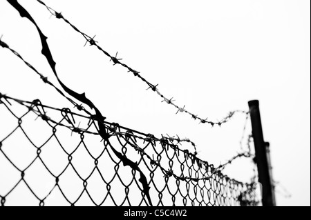 Close-up of barbed wire fence against clear sky - Stock Photo