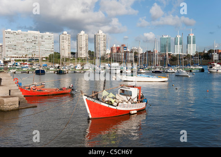 Montevideo marina and skyline, Uruguay, South America - Stock Photo
