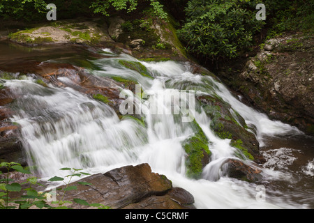Waterfall on Laurel Creek near Cades Cove in Great Smoky Mountains National Park on the Tennessee side. - Stock Photo
