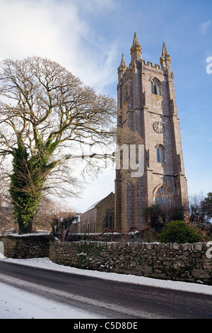 England Devon Widecombe in the Moor St. Pancras' Parish Church in snow - Stock Photo