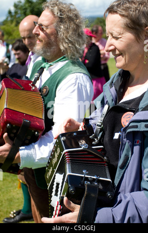Morris Dancers, Detail and People, Performing at Tutbury Castle Weekend of Dance  Derbyshire, Uk - Stock Photo