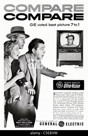 Original 1950s advert in American magazine advertising GENERAL ELECTRIC black & white television featuring celebrity - Stock Photo