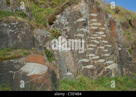 stone sculptures, Stone and Man project, Qaqortoq, Greenland (Danish name: Julianehab), largest town in South Greenland - Stock Photo