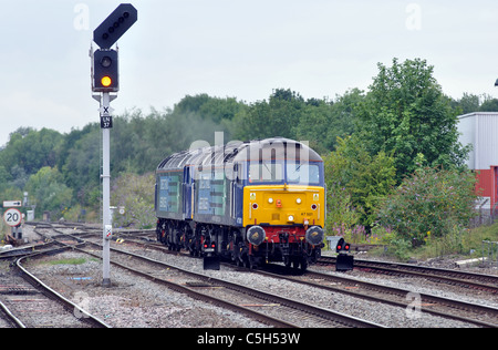 Two Direct Rail Services class 47 diesel locomotives approaching Leamington Spa station, UK - Stock Photo