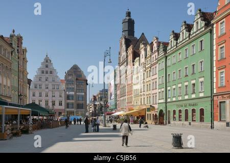 Marktplatz von Breslau   Wroclaw market square - Stock Photo