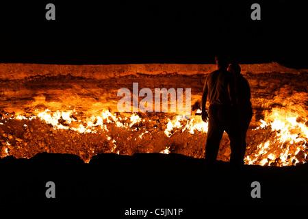 Turkmenistan - Karakum Desert - Darvaza natural gas crater - Stock Photo