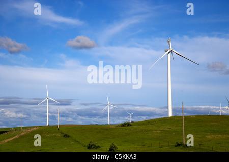 broken wind turbine blade on windmill wind farm near minot north dakota USA - Stock Photo