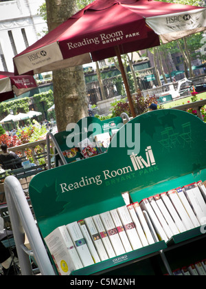 Outdoor Reading Room, NYPL, Bryant Park, NYC - Stock Photo