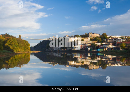 Clifton Suspension Bridge and Hotwells reflected in the River Avon. Bristol. England. UK. - Stock Photo