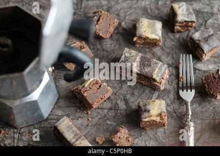 Espresso chocolate brownie - Stock Photo