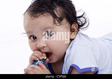 Baby Girl isolated, White - Stock Photo