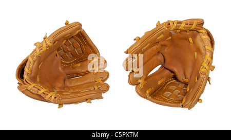 Leather baseball gloves worn during Baseball played on summer afternoons - path included - Stock Photo