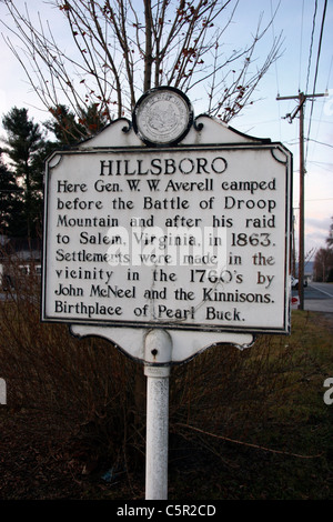 HILLSBORO. Here Gen. W. W. Averell camped before the Battle of Droop Mountain and after his raid to Salem, Virginia, - Stock Photo