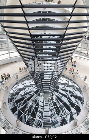 Dome of the Reichstag parliament, Regierungsviertel government district, Berlin, Germany, Europe - Stock Photo