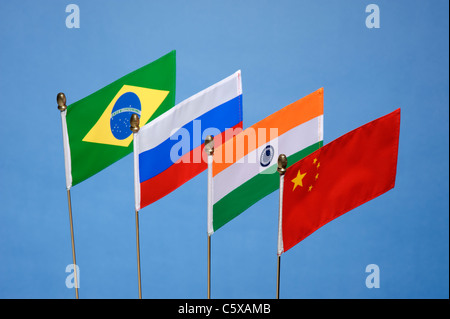 BRIC's Brazil Russia India China flags - Stock Photo
