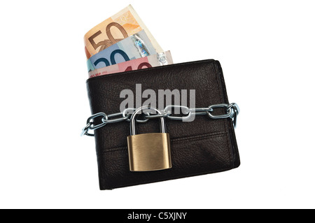 Leather wallet locked with chain - Stock Photo