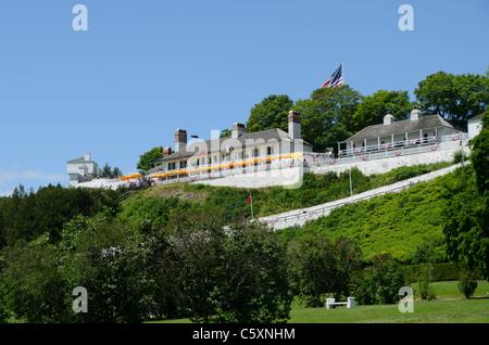View on Historic fort on Mackinac Island, Michigan - Stock Photo