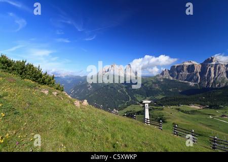 landscape of Italian Dolomites in Fassa Valley - Stock Photo