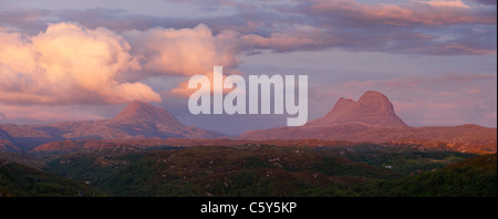 Canisp (L) and Suilven (R), Assynt, Sutherland, Highland, Scotland, UK. - Stock Photo