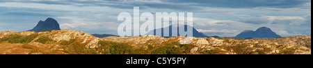Mountain panorama in Sutherland, Highland, Scotland, UK. L to R, Suilven, Cul Mor, Cul Beag. - Stock Photo