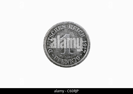 Detail photo of a 1 Pfennig coin of the German Reich from the year 1917 - Stock Photo