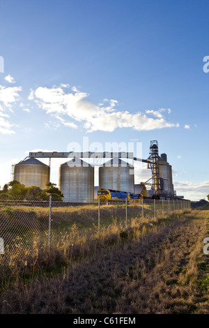 Grain silos or elevators in western NSW, Australia, a major grain producing area. - Stock Photo