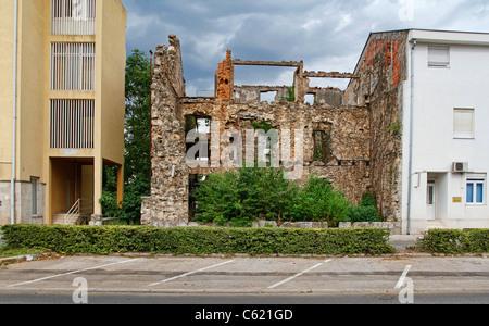 War damaged buildings in Mostar, Bosnia and Herzegovina - Stock Photo