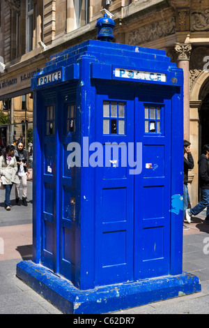 Old fashioned Police Box on Buchanan Street in the city centre, Glasgow, Scotland, UK - Stock Photo