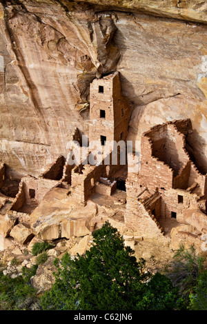 Square Tower House in Mesa Verde National Park - Stock Photo