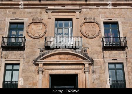 Lerma old city in Burgos facade of the parador - Stock Photo