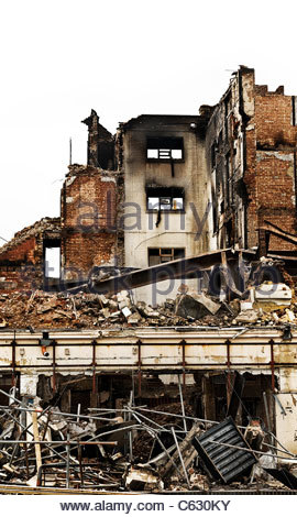 Fire damaged building, Southsea Portsmouth - Stock Photo