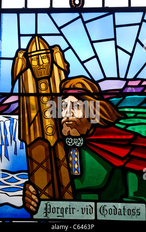 Stained glass window at the Akureyrarkirkja church, Akureyri, Iceland - Stock Photo