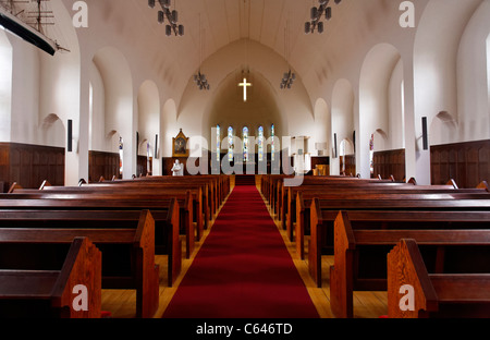 Interior of the Akureyrarkirkja church, Akureyri, Iceland - Stock Photo