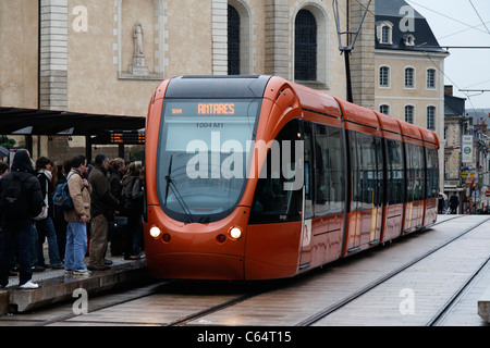 Tramway, center of Le Mans (Sarthe, France). - Stock Photo