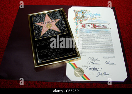 Alec Baldwin Star at the induction ceremony for Star on the Hollywood Walk of Fame Ceremony for Alec Baldwin, Hollywood - Stock Photo