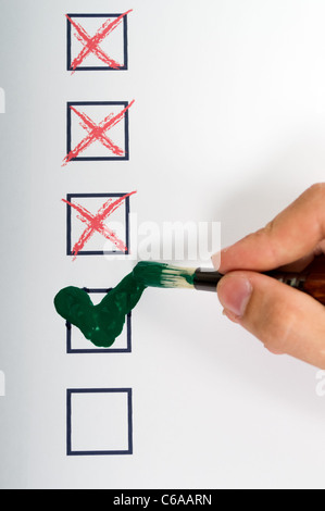 Art tick metaphor denied or approved - Stock Photo