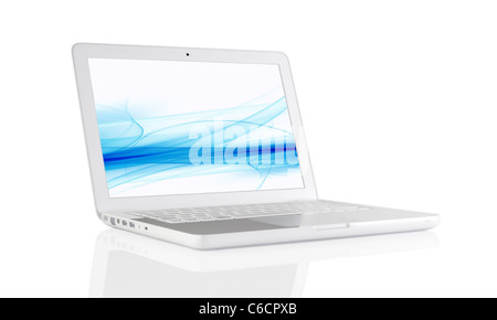 Computer laptop with reflection on a table - Stock Photo